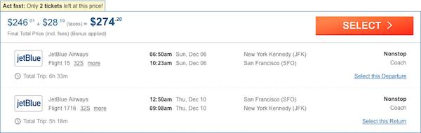 tickets New York - San Francisco