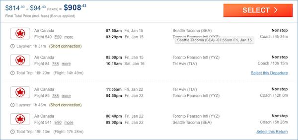 cheap flights Seattle - Tel Aviv