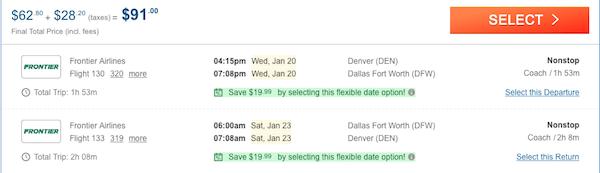 cheap flights from Denver to Dallas