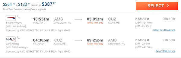 cheap flights to Peru