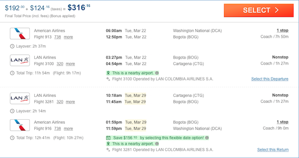 cheap flights to Colombia