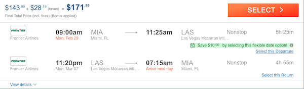 cheap flights Miami - Las Vegas
