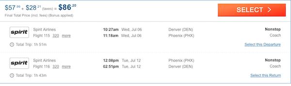 cheap flights from Denver to Phoenix